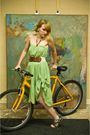 Green-skirt-brown-forever-21-belt-blue-aldo-shoes
