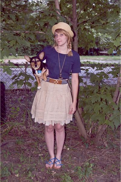 blue vintage blouse - blue BDG belt - beige American Eagle skirt - blue Aldo sho