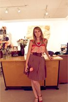 orange Forever 21 blouse - brown Forever 21 belt - brown American Eagle skirt -