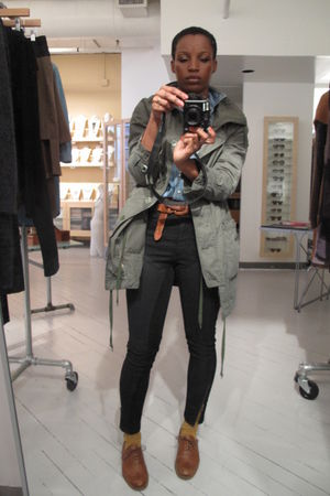 green Gap jacket - blue American Eagle shirt - black H & M jeans - brown vintage