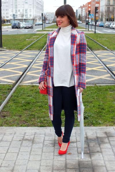 navy tartan Zara coat - red leather Chanel bag