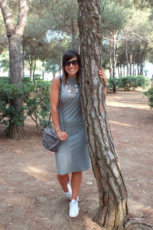 heather gray H&M dress - black Rodenstock sunglasses - white Adidas sneakers