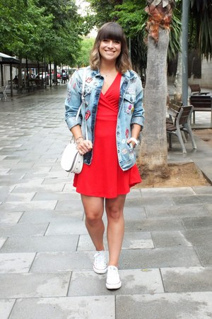 red Bershka dress