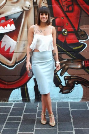 white dot crop top Bershka top - light blue midi Zara skirt