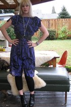 black wooden clog NYLA boots - violet printed thrifted vintage dress - silver le