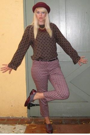 crimson print H&M pants - crimson wool Amanda Smith hat