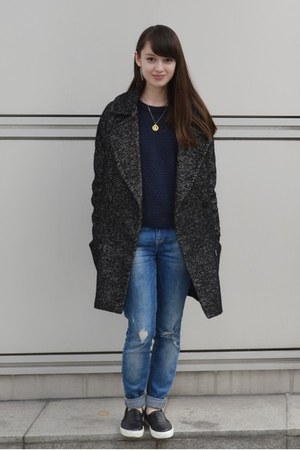 blue Zara jeans - black Topshop shoes - gray H&M coat - navy Monki sweater