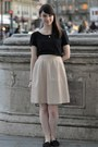 Black-dress-as-shirt-monki-dress-light-pink-mercury-duo-skirt-black-flats