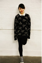black Boy London sweater - ivory new look shirt - blue Converse sneakers