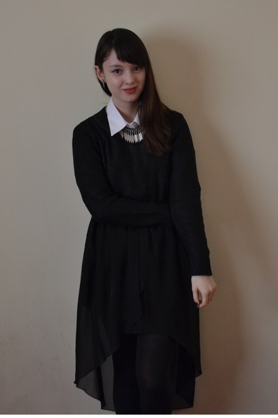 black Love skirt - white M&S shirt - black H&M jumper