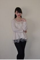 ivory Yesstyle jumper - black Uniqlo leggings - Accessorize necklace