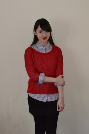 purple Mango shirt - red Forever 21 jumper - black H&amp;M skirt