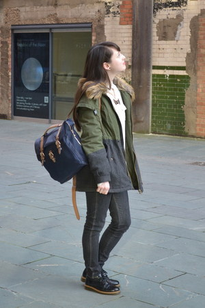 olive green parka H by Henry Holland coat - black brogues Office shoes
