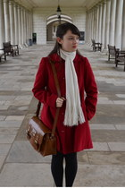 red H by Henry Holland coat - brown H by Henry Holland bag