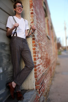 heather gray Fossil pants - brown brown wingtips Aldo shoes