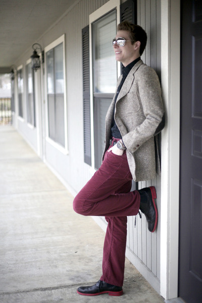 red red soled boots Rockadelic boots - heather gray vintage blazer