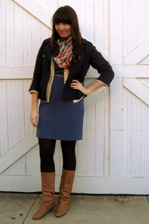 blue H&M dress - beige Jcrew cardigan - brown Zara boots - brown Anthropologie b