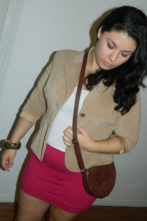 dark brown Forever 21 bag - camel cato blazer - hot pink Forever 21 skirt