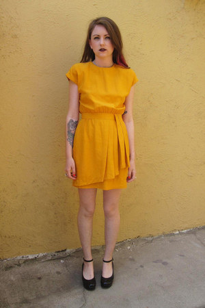 gold I Magnin dress - black thrifted vintage shoes