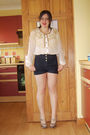 Gold-cardigan-white-new-look-blouse-blue-topshop-shorts-brown-topshop-shoe