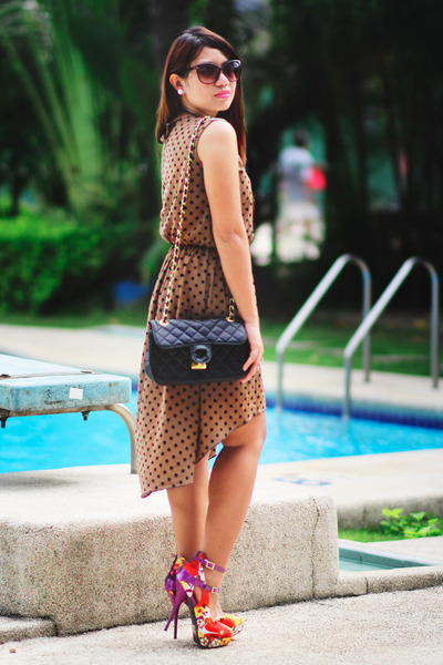 vintage bag - dress - floral heels