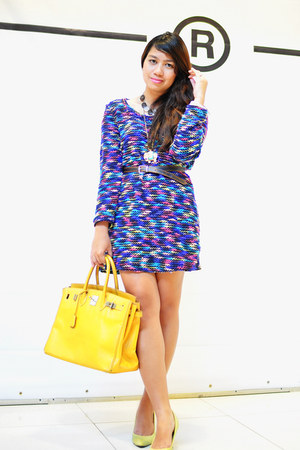 purple knit dress - mustard bag - lime green Parisian heels