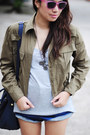 Olive-green-military-thrifted-jacket-heather-gray-grey-shirt
