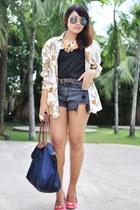 denim shorts - scarf-print top - blouse
