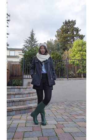 Gap shirt - Hunter boots - banana republic hat - Bossini jacket - Gap scarf
