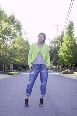 chartreuse Zara jacket - black stuart weitzman shoes - American Eagle jeans