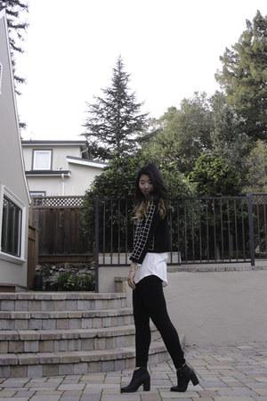black shoemint boots - black Zara sweater - black JCrew leggings