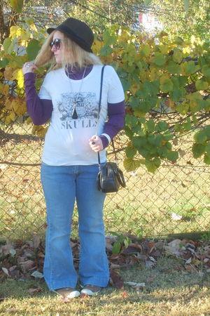 white American Apparel shirt - purple Attention shirt - blue Levis jeans - black