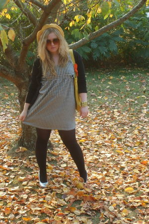 black thrifted dress - black Old Navy sweater - black stockings - silver Bonnieb