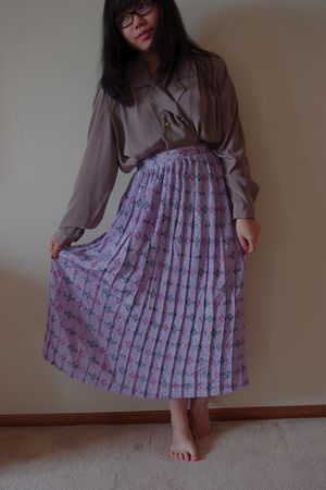 brown thrfited shirt - purple thrifted skirt