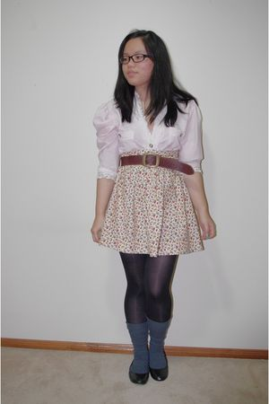 pink op shop shirt - yellow Hand Made skirt - black Big W tights - gray school b
