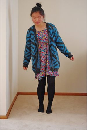 blue thrifted cardigan - green thrifted dress - black Big W tights