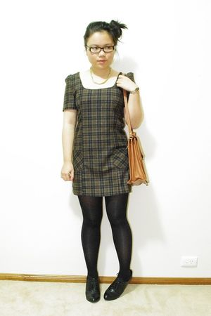 brown thrifted dress - black cotton on blazer - black Big W tights - black betts