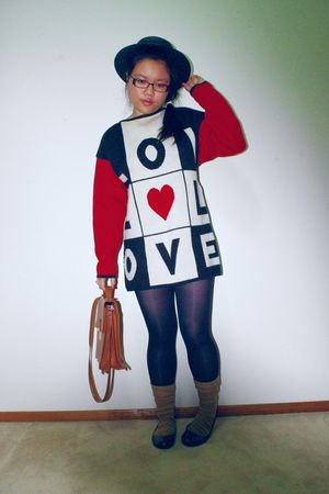 white thrifted jumper - black Big W tights - brown school brand socks - brown th
