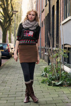 green vintage sweater - dark brown vintage boots - gray sweater H&M tights