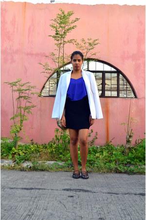 white portmans blazer - black cotton skirt - blue sheer february love top