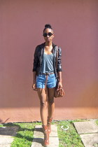 black faux leather ashley jacket - brown Aldo bag - light blue LEI shorts