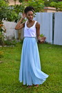 Light-blue-maxi-oasap-skirt-white-zara-top