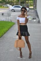 black Forever 21 skirt - white crop top Ebay top
