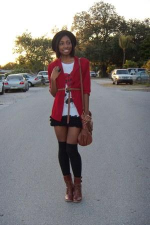 ruby red blazer - white Forever 21 shirt - black Forever 21 socks - tawny Bamboo