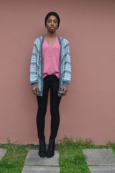 silver Salvation Army cardigan - black bullhead black jeans