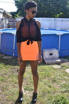 black Forever 21 blouse - orange Nasty Gal dress