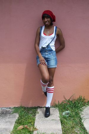 red Forever 21 hat - white Zara blouse - blue Zara shorts - black Forever 21 sho