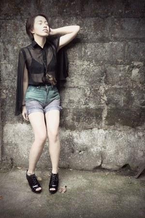 black transparent blouse - purple ombre shorts - dark green ombre shorts shorts
