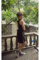 black dress - heather gray Converse sneakers