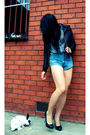 Black-friends-sisters-jacket-blue-unknown-blouse-blue-diy-shorts-black-lip